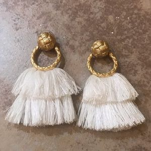 White Fringe Hoop Earrings by For Love and Lemons